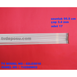 LG, T420HW02, 106EKRAN(42), uzunluk95.5 cm, çap 3.4 mm , lcd floresan, 17 adet  TEK ADET FİYATIDIR
