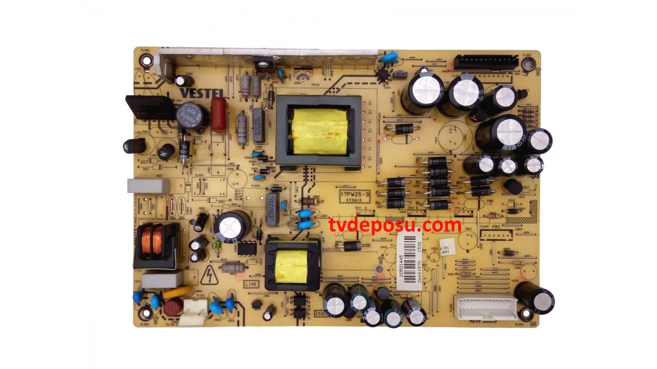 VESTEL, 17PW25-3, 20501445, 32742 32'' LCD TV, POWER BOARD, BESLEME KARTI